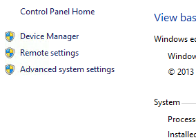 Advanced System settings Windows